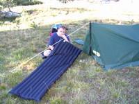 Tom filling his sleeping pad