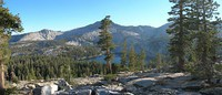 Panorama view of Lillian Lake, Madera Peak, Sing Peak