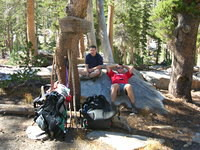 Tom and Jason taking a breather at the Chittenden Lake junction