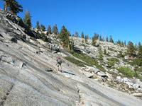 Tom traverses granite above Lillian Lake