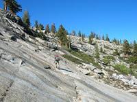Tom traverses granite above Lillian Lake