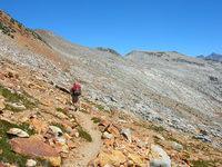 Jason descends Isberg Pass back into Ansel Adams Wilderness