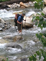 Mike finishes the last part of the Middle Fork Kaweah River crossing