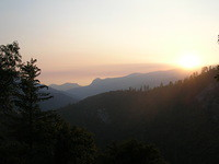 Moro Rock and view to west at Sunset