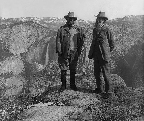 John Muir and Teddy Roosevelt on Glacier Point (restored)