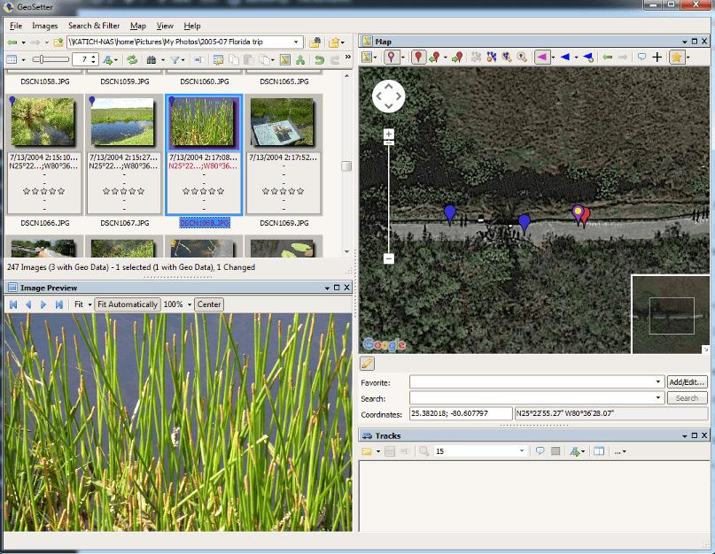 GeoSetter geotagging program screenshot