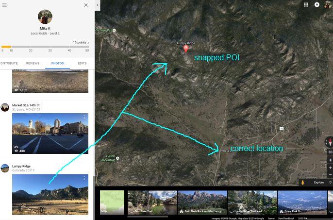 Google Maps Lumpy Ridge in Contributions View