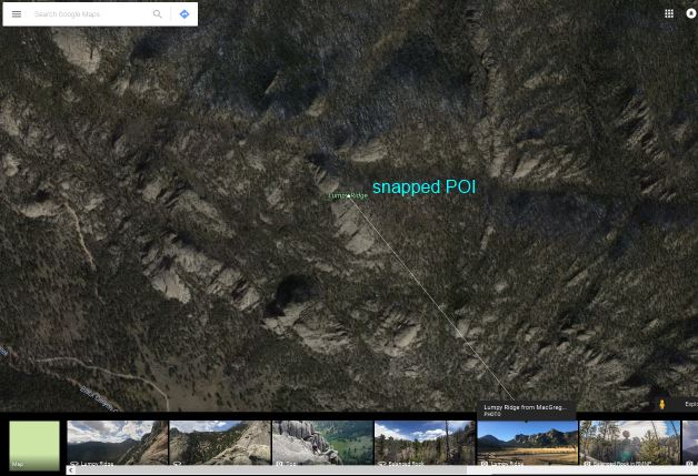 Google Maps Lumpy Ridge in Photo Layer