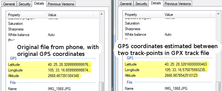 GeoSetter estimation exif comparison
