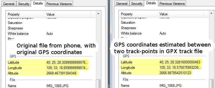 GeoSetter estimation exif comparison