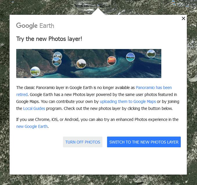 Google Earth new photos layer message screenshot1